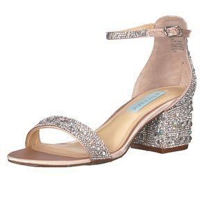 Betsy Johnson Mari Rhinestone Block Heel Sandals